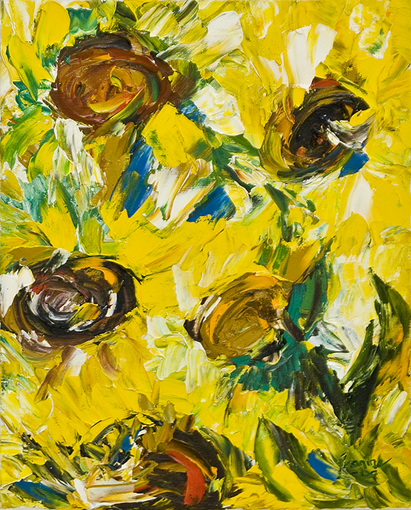 Solrosor målade an Jeanine Jansson